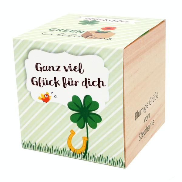 Glücksklee im Holzwürfel - Glück für dich, personalisiert
