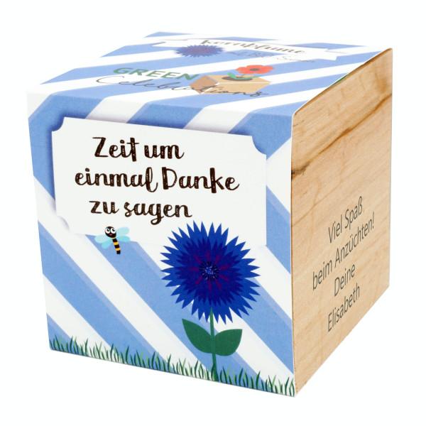 Kornblume im Holzwürfel - Danke, personalisiert