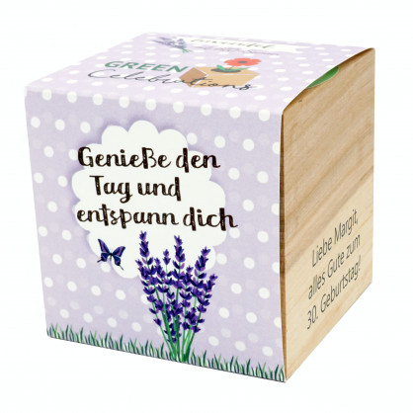 Lavendel im Holzwürfel - Genieße den Tag und entspann dich, personalisiert