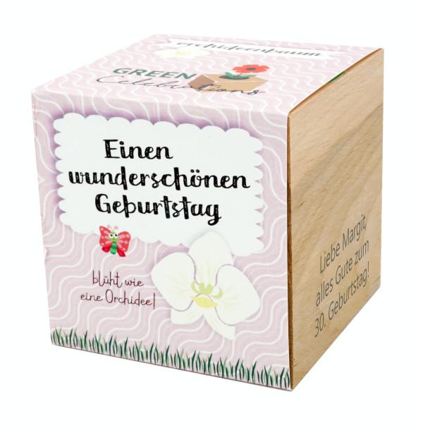 Orchideenbaum im Holzwürfel - Geburtstag, personalisiert