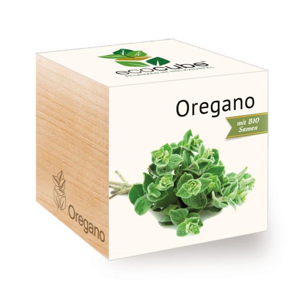 Oregano  ecocube, Pflanze im Holzwürfel. Pflanzwürfel mit Kräutern von Feel Green. Oregano Blumenwürfel.