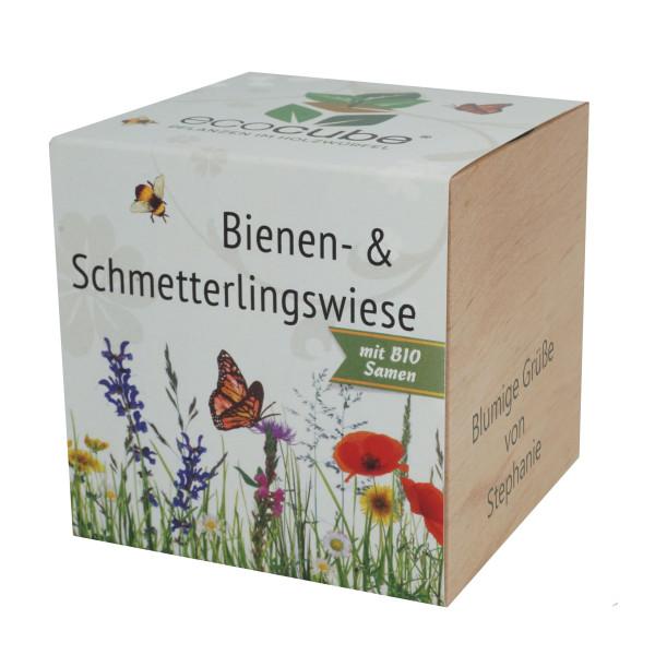 Pflanzwürfel Bienen- und Schmetterlingswiese mit persönlicher Gravur