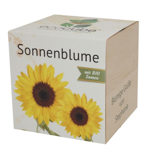 Pflanzwürfel Sonnenblume mit persönlicher Gravur
