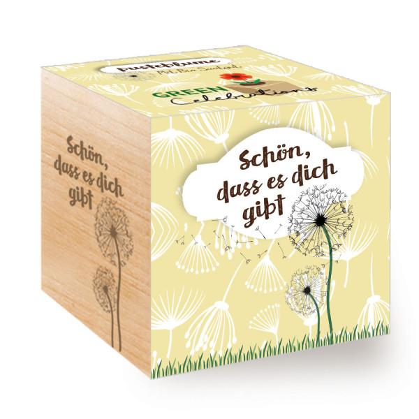 Schön dass es dich gibt! Pusteblume aus dem Holzwürfel. Pflanzwürfel ecocube Green Celebrations.