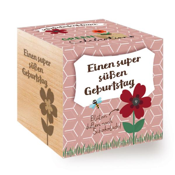 Verschenken Sie den Feel Green ecocube Holzwürfel mit Schokoladenblume und Geburtstagsgruß: Einen super süßen Geburtstag!