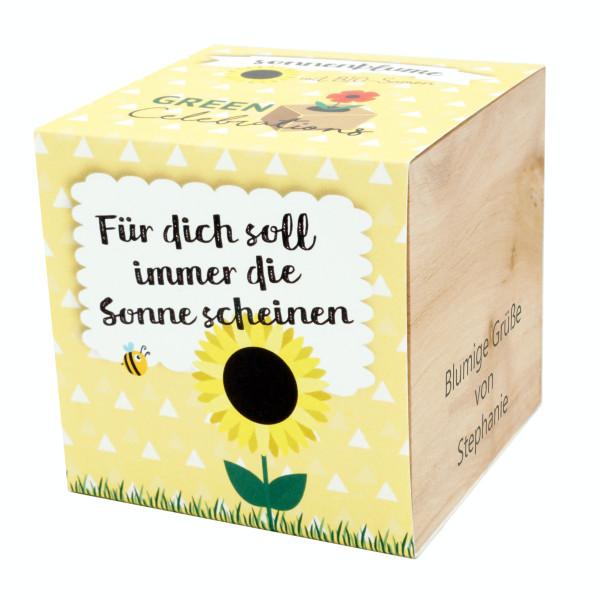 Sonnenblume im Holzwürfel - Sonne scheinen, personalisiert
