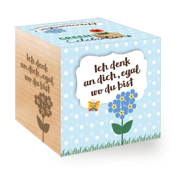Pflanzwürfel / Holzwürfel mit Pflanze Vergissmeinnicht und Textgravur - Ich denk an dich, egal wo du bist - Geschenk zum Auszug, Reise, Erinnerung ...