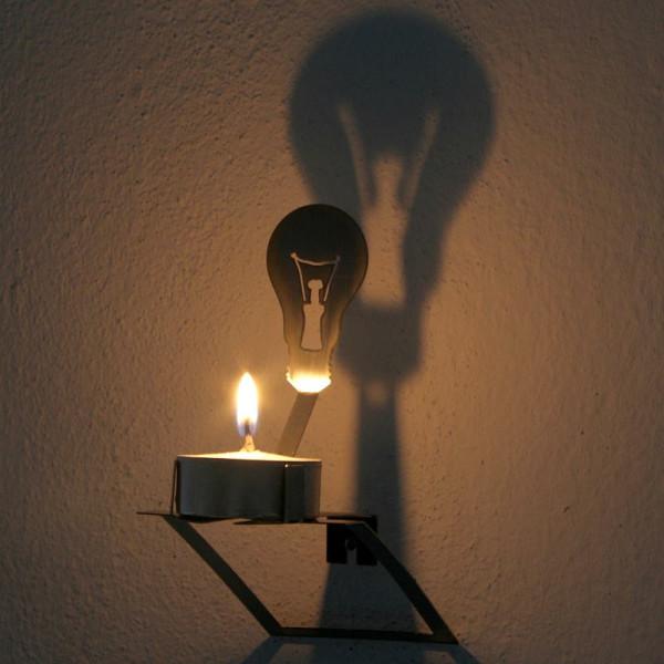 Teelichthalter Wandschatten Glühlampe