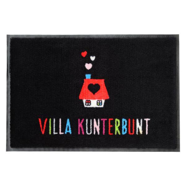 Waschbare Fußmatte mit buntem Hausmotiv und farbigen Schriftzug - Villa Kunterbunt - von Gift Company.