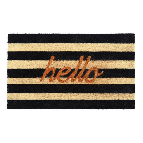 Kokos Fußmatte mit Streifenmuster hello-Print von Gift Company. Schmutzfangmatte hello Glitzer von Gift Company.