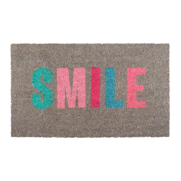 Kokosfußmatte SMILE - Gift Company - Design Schmutzfangmatte - Fußmatte aus Kokosfasern - mit buntem SMILE Schriftzug