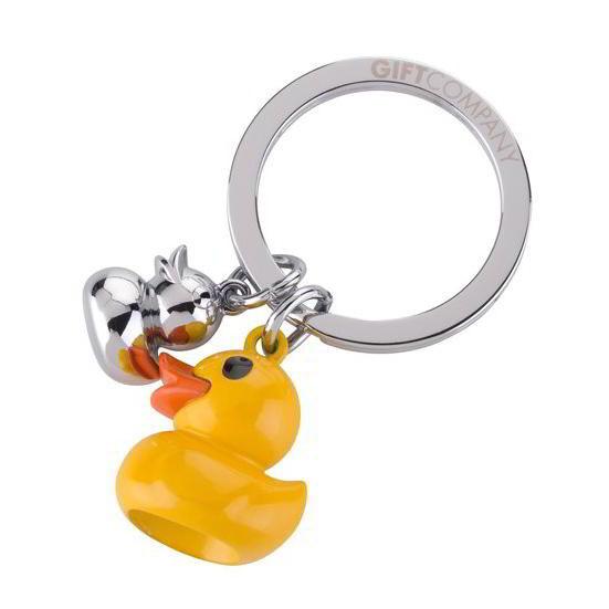 Schlüsselanhänger Ente gelb mit Entchen Charm in silber von Gift Company. Stabiler und liebevoller Schlüsselhalter mit Enten aus Metall.