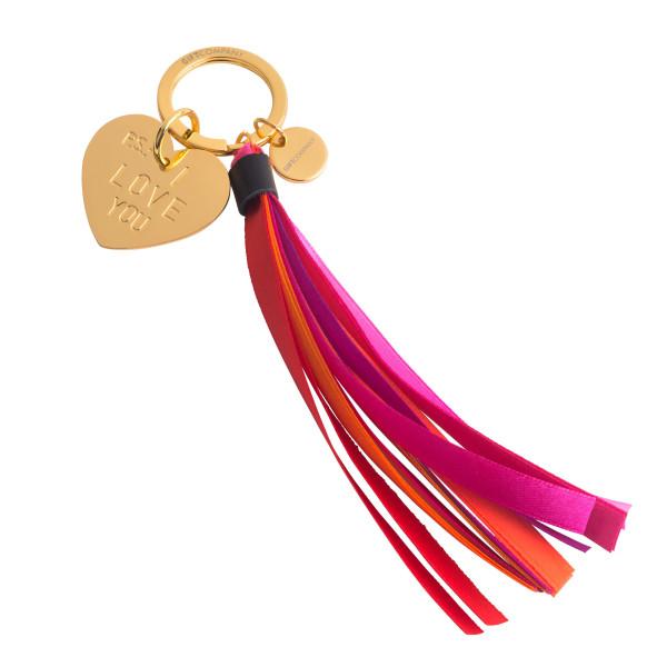 Schlüsselanhänger I LOVE YOU. Schlüsselhalter Liebe von Gift Company. Goldener Herzanhänger mit pinker Quaste / Tassel.
