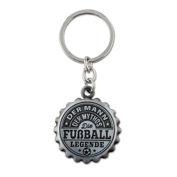 Flaschenöffner FUßBALL LEGENDE mit Anhänger. Bieröffner im Kronkorkenlook mit Spruch! Bieröffner graviert - originelles Geschenk für Fußballer.