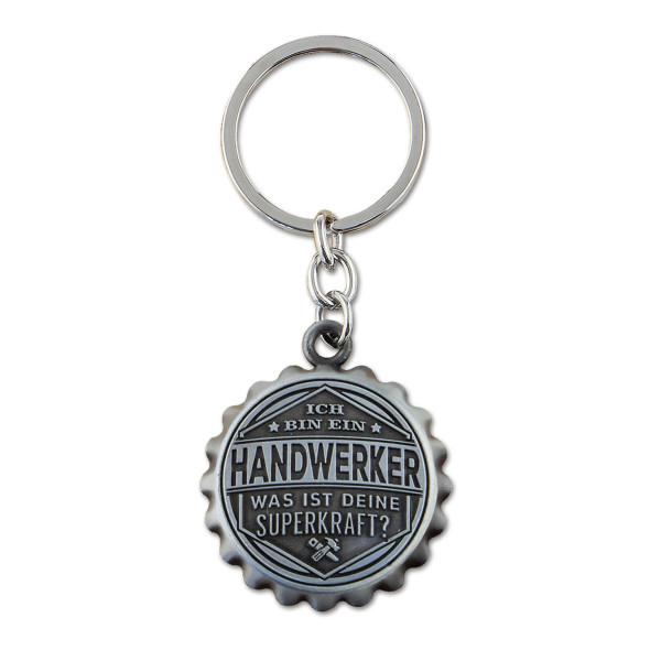 Flaschenöffner und Schlüsselanhänger im Kronkorkenlook mit Handwerker-Spruch! Coole Bieröffner für Handwerker.