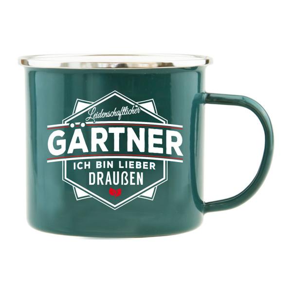 Spruchtasse / Henkeltasse mit Spruch Leidenschaftlicher Gärtner - ich bin lieber draußen. Geschenk für Gärtner.