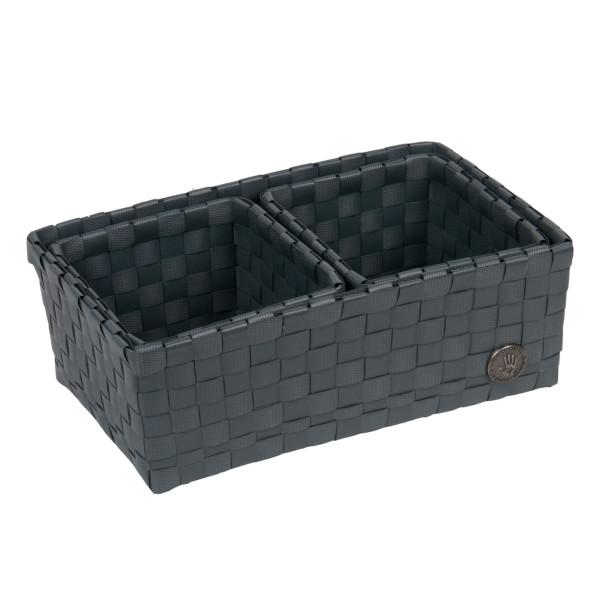 Praktisches Korbset 3-teilig von Handed By in dunklem grau. Die Kunststoff-Flechtkörbe sorgen stilvoll für Ordnung.