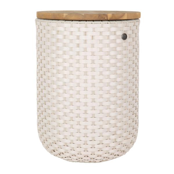 HALO Korb Beistelltisch geflochten mit Holzplatte champagnerweiß - Handed By. Korb, Sitzhocker & Beistelltisch - fair, nachhaltig und sozial produziert!