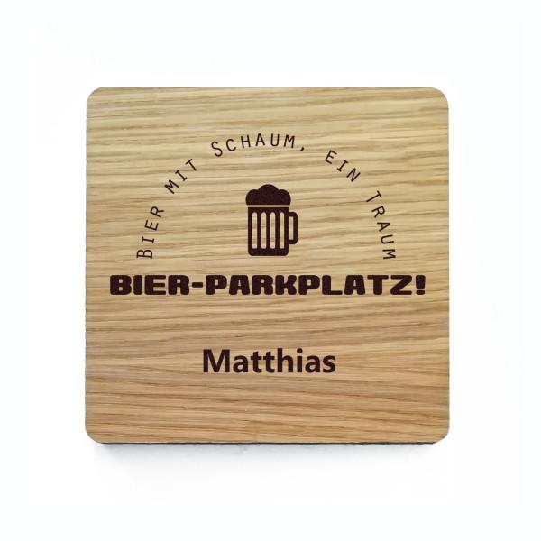 Bierdeckel Holz mit Gravur - Glasuntersetzer mit persönlicher Garvur - eckiger Holzuntersetzer BIERPARKPLATZ mit Filzrücken