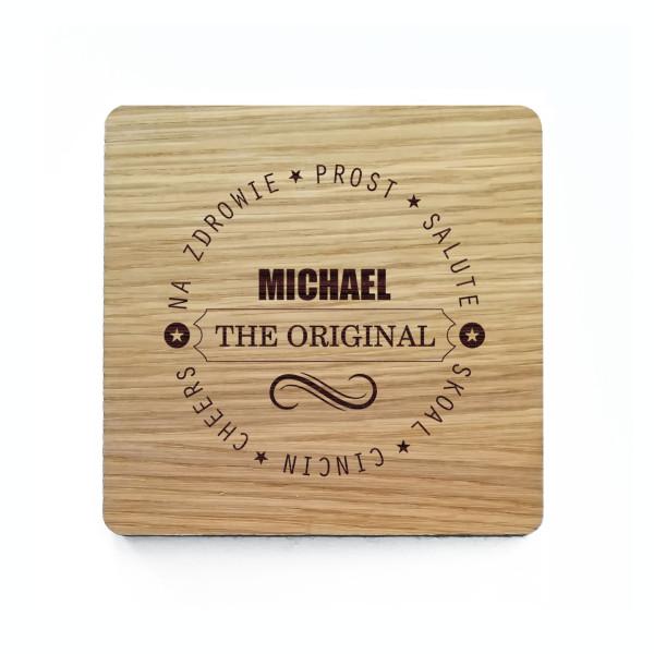 Bierdeckel Holz mit Gravur - Glasuntersetzer mit persönlicher Namensgravur - eckiger Holzuntersetzer Prost - THE ORIGINAL mit Filzrücken - Eichenholz graviert