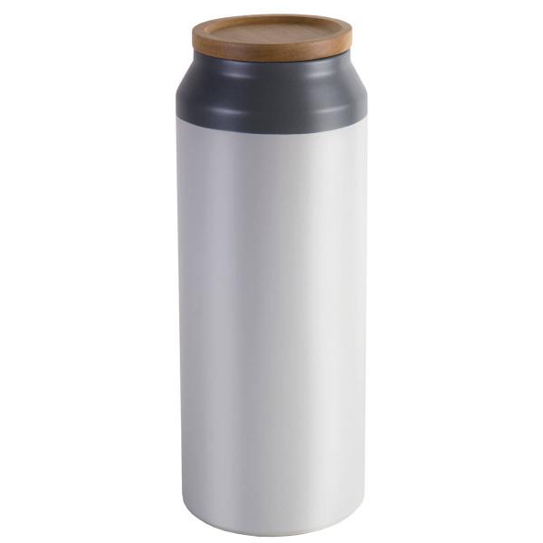 Keramikdose in grau und weiß mit Holzdeckel von Jamie Oliver - Version large 30 cm.