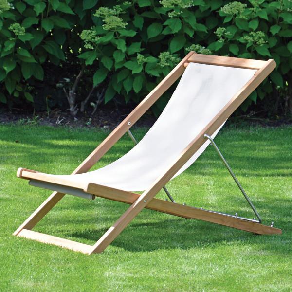 Holz Liegestuhl Deckchair NIZZA aus Teak mit weißen Textilen Bezug von Jan Kurtz Möbel.