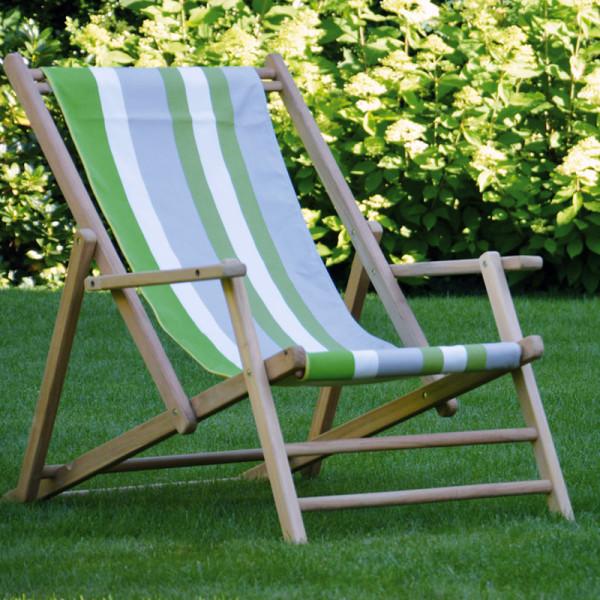 Liegestuhl Deckchair MAXX Streifen Tarifa grün, Teak