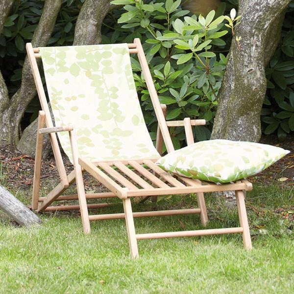 Liegestuhl Deckchair MAXX mit Fußteil Blume Greenwich Leaf