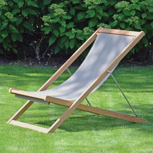 Deckchair Liegestuhl NIZZA aus Teak mit taupe grauen Bezug von Jan Kurtz Möbel.