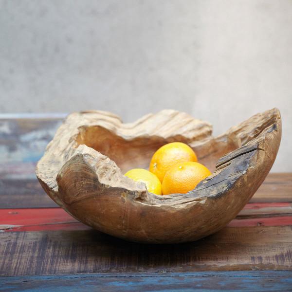 Holzschale Natural Teak, rustikal 30 cm