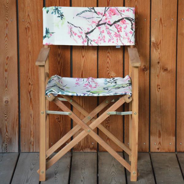 Gartenstuhl mit Armlehnen aus Teakholz von Jan Kurtz und Sitzbezug mit Chinoiserie Flower Print.