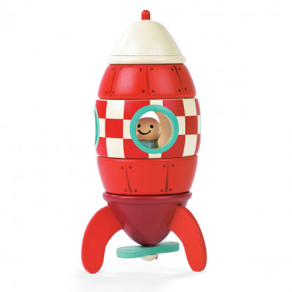 Rakete aus Holz mit Magnetbausatz 5-teilig