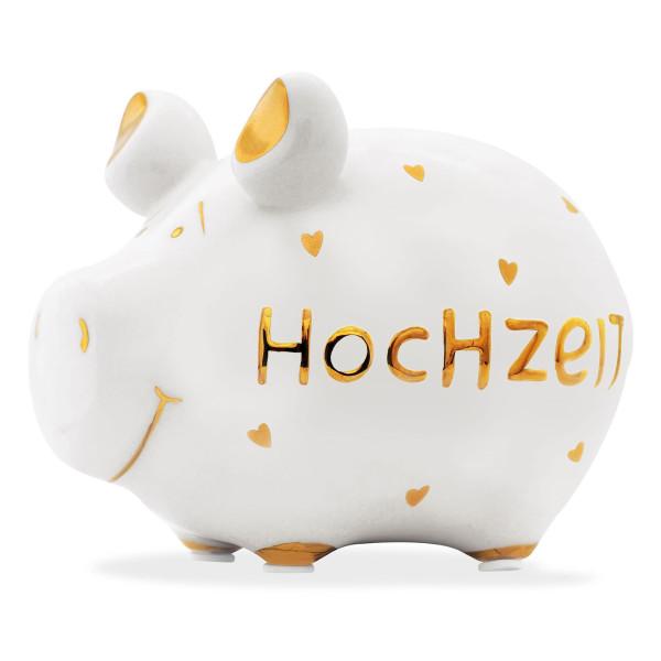 Tolles Hochzeitsgeschenk! Das nette Sparschwein HOCHZEIT mit goldenen Herzchen aus der Sonderserie GOLD.