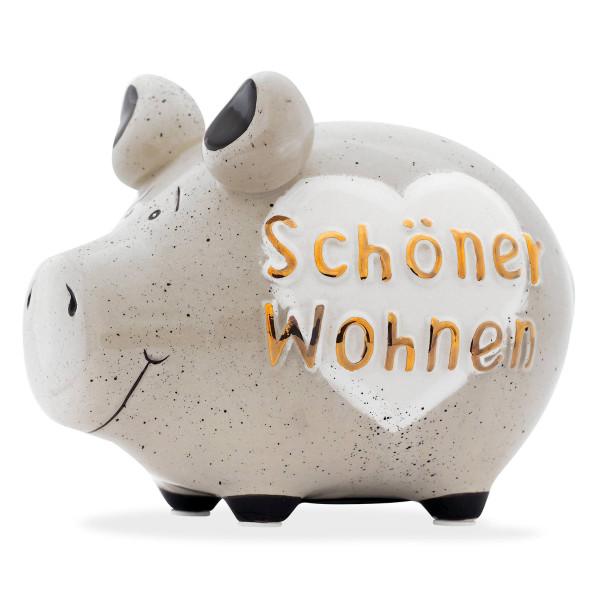 Sparschwein grau aus Keramik mit weißem Herz und goldenem Schriftzug Schöner Wohnen von KCG Chaoskind.