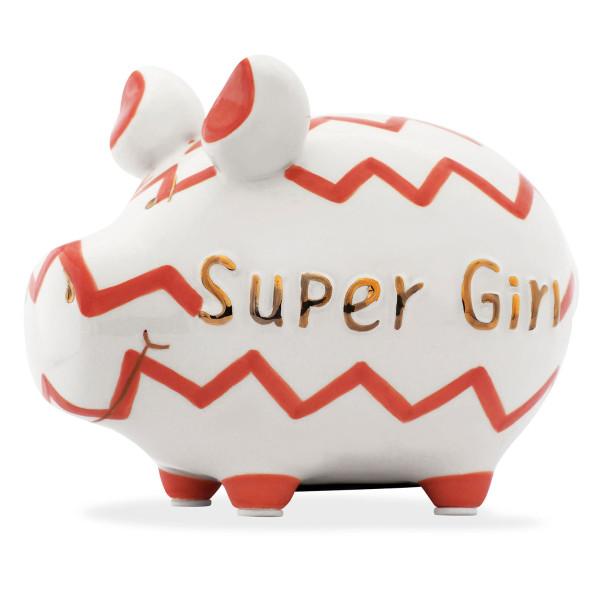 Supergirl Sparschwein von KCG Design. Keramik Sparschweinchen mit rotem Zick-Zack Linien und goldenem Schriftzug SUPER GIRL: