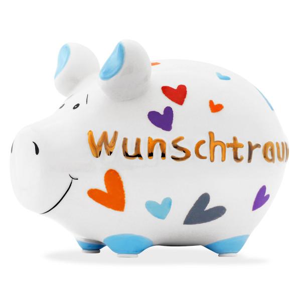Sparschwein aus Keramik von KCG Chaoskind - Sondermodell - Goldedition - goldener Schriftzug Wunschtraum - Herzchen bunt