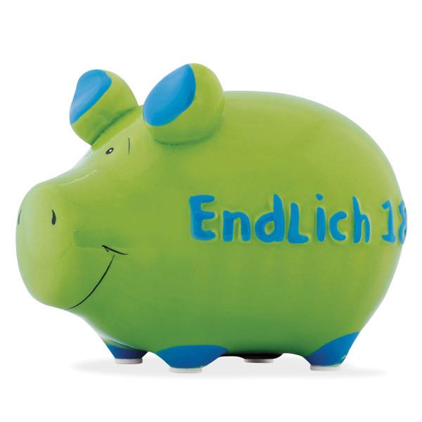 Das grüne Sparschwein aus Keramik mit Schriftzug - Endlich 18!