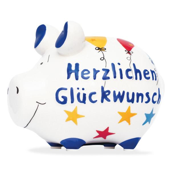 Glückwünsche für dich! Kleines Sparschwein HERZLICHEN GLÜCKWUNSCH von KCG.