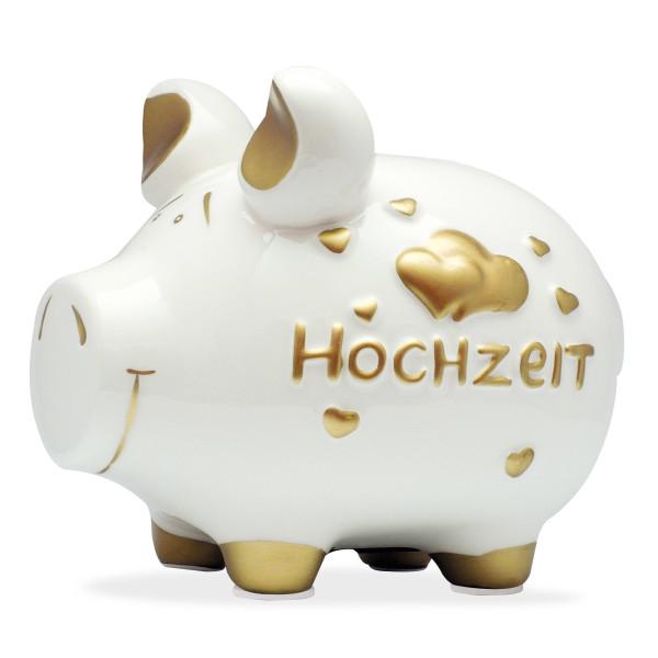 Großes Sparschwein (Mittelschwein) aus Keramik mit Schriftzug HOCHZEIT und Herzen