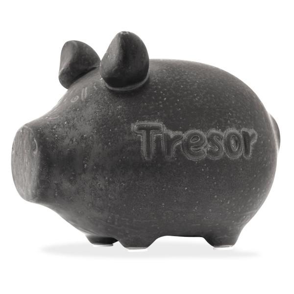 Sparschwein in anthrazit von KCG mit Schriftzug TRESOR