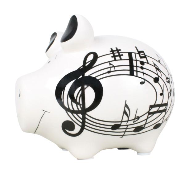 Musik Sparschwein aus Keramik. Mit Noten, Notenschlüssel ...
