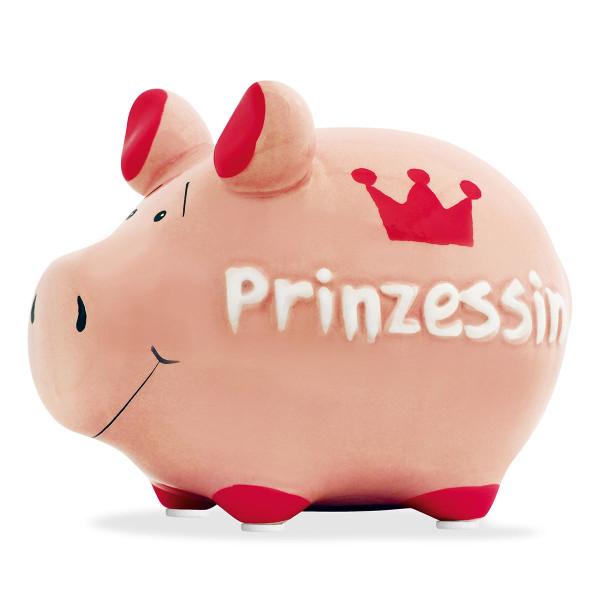 Rosa Sparschwein aus Keramik mit Krone und Schriftzug Prinzessin - lustiges Sparschweinchen für Mädchen - Spardose mit Gummistopfen.