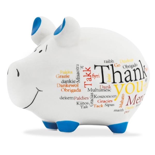 Sparschwein aus Keramik mit verschiendenen DANKE-Wörtern. Thank You - Grazie - Merci - Takk - ...