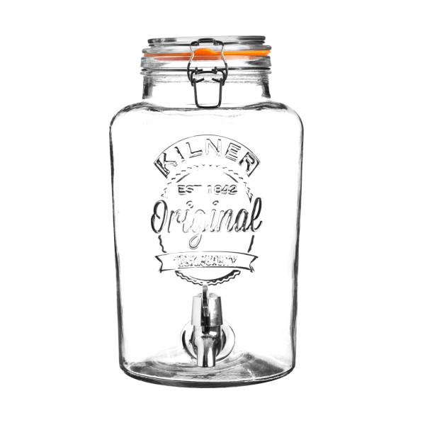 Kilner Glas Getränkespender / Wasserspender ROUND mit Bügelverschluss. 5 Liter Füllvolumen.