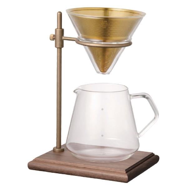 Kaffee-Set - Brewer Stand Set 4 Cups - für Filterkaffee von KINTO. Exklusiver Ständer mit Filter und Glaskanne.