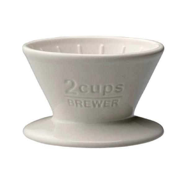 Trichter für Kaffeefilter, Porzellan - brewer 2Cups, weiß