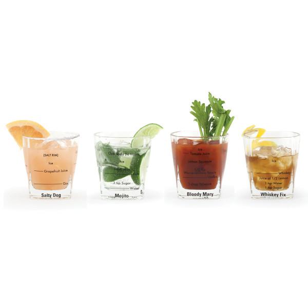 4 Bargläser mit Mengenangabe für 16 coole Drinks von Kikkerland.
