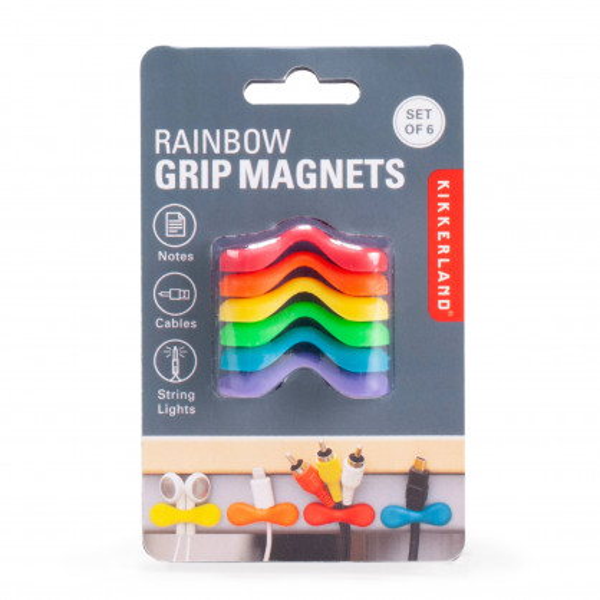 Bunte Kunststoffbügel mit Magnet - Kikkerland Kabelhalter RAINBOW