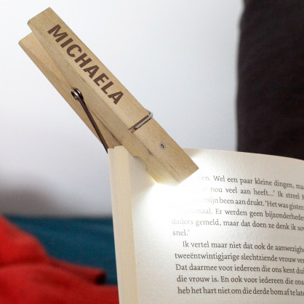 Leselicht / Wäscheklammerlicht mit Gravur