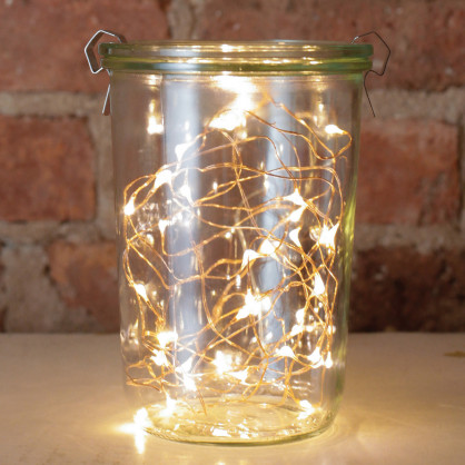 Lichterkette Kupferdraht String Light chopper - 20 LED Leuchtdioden - Batteriebetrieb